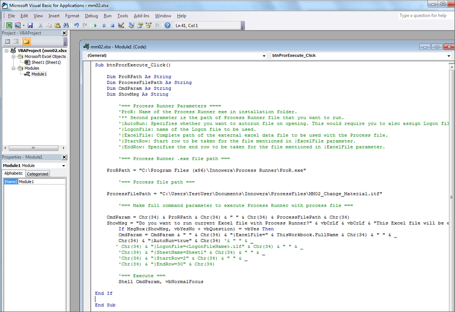 2 2: Step-by-Step on manually generating VBA Code for Process Runner